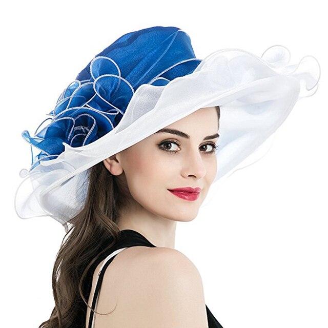 المرأة دربي قبعة فاخرة كشكش حافة الأزهار جانبا المرقعة الأورجانزا واسعة حافة قبعة سيدة الربيع الصيف الشمس الكنيسة قبعة حفلات الزفاف