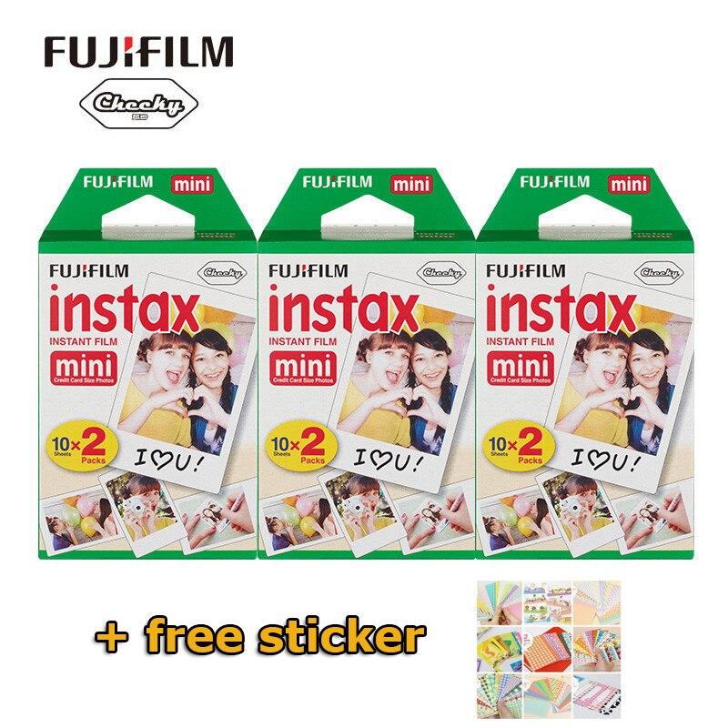 Original Fuji Fujifilm Instax Mini Film 60 feuilles papiers Photo pour Polaroid Mini appareil Photo 7 s 8 90 25 55 partager SP-1 appareil Photo instantané