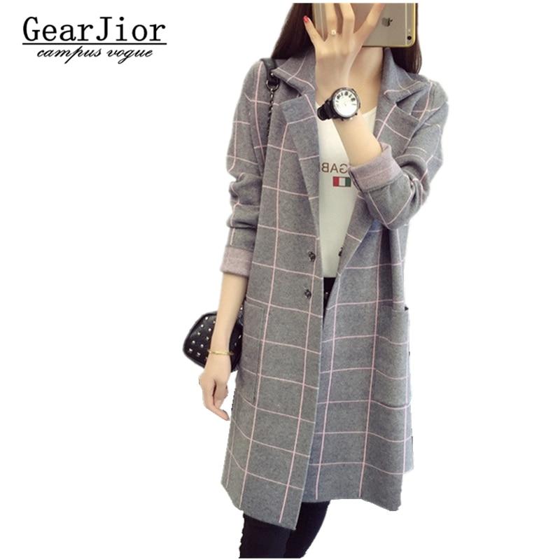 2017 new hot sale women s autumn winter long sections casual Cardigans coats woman lattice knit