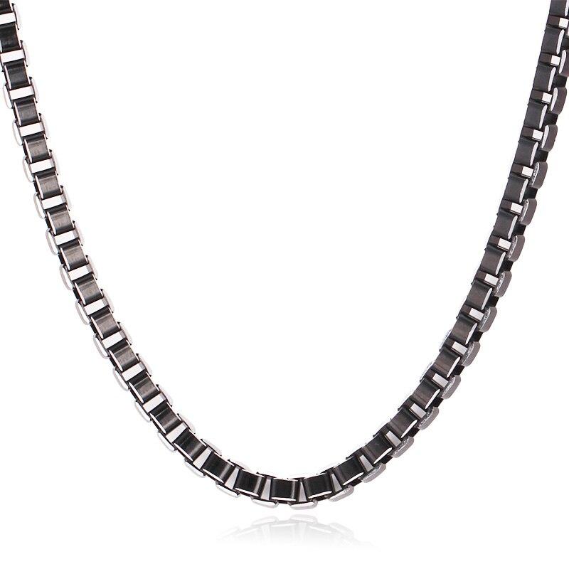 Nouveaux Articles Mignon Noir Boîte Chaînes En Acier Inoxydable 316L Collier Bracelet Ensembles Bijoux Pour Hommes/Femmes 6 MM 55 CM 22 ''N203