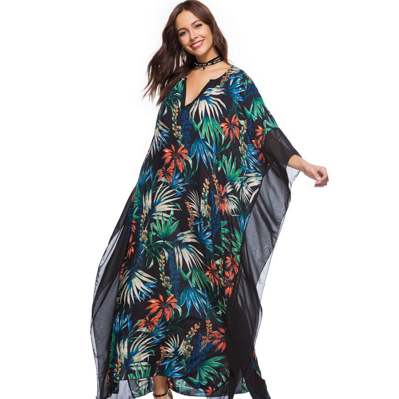 3XL 4XL <font><b>5XL</b></font> <font><b>6XL</b></font> <font><b>PLUS</b></font> <font><b>SIZE</b></font> floral maxi <font><b>dress</b></font> beachwear <font><b>sexy</b></font> v-neck loose vintage print Batwing Sleeve Bohemian boho <font><b>clothing</b></font> robe image