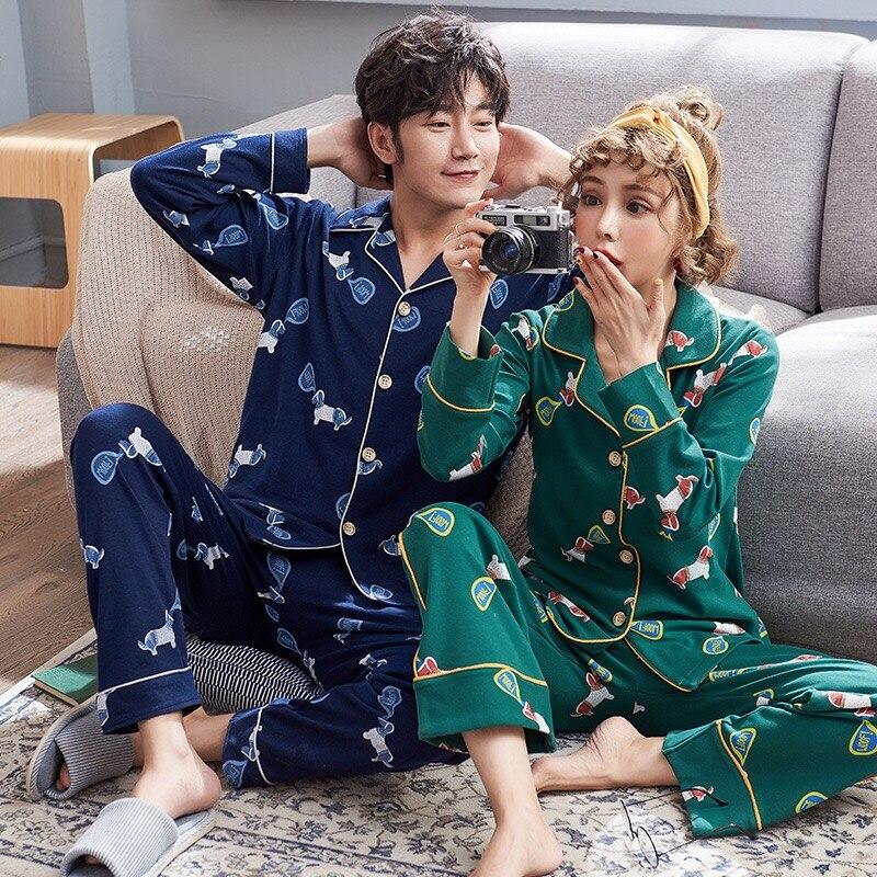 Unisex Womens men's   Pajamas     Set   Pyjamas Cotton Long Sleeve Sleepwear Pijama   Pajamas   Suit Female Sleep Two Piece   Set   Loungewear