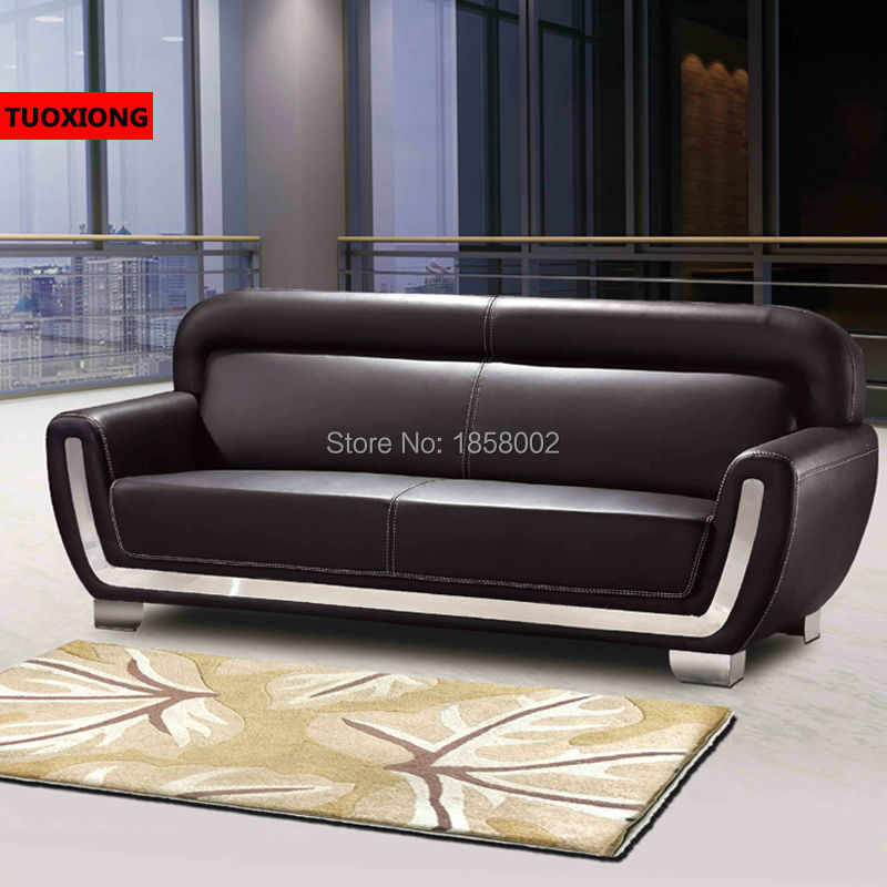 Black Genuine Leather Office Sofa
