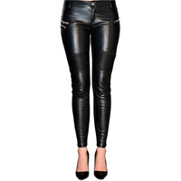 Faux PU Leather Pants Women High Waist Stretchy Black Trousers 2017 Plus Size Slim Sexy Leggings