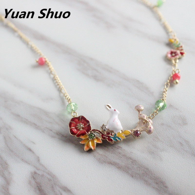 New temperament Enamel rabbit flower glass inlaid necklace clavicle chain female