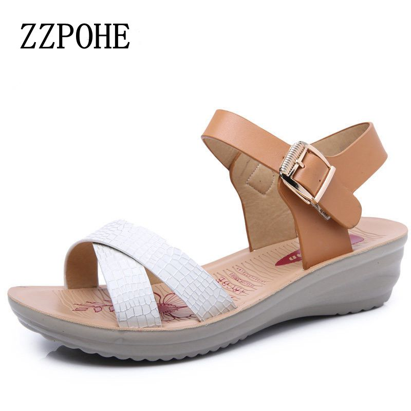 ZZPOHE Mother sandals soft bottom middle-aged women shoes summer skirt comfortable ladies large size leather sandals 40 41 цена 2016