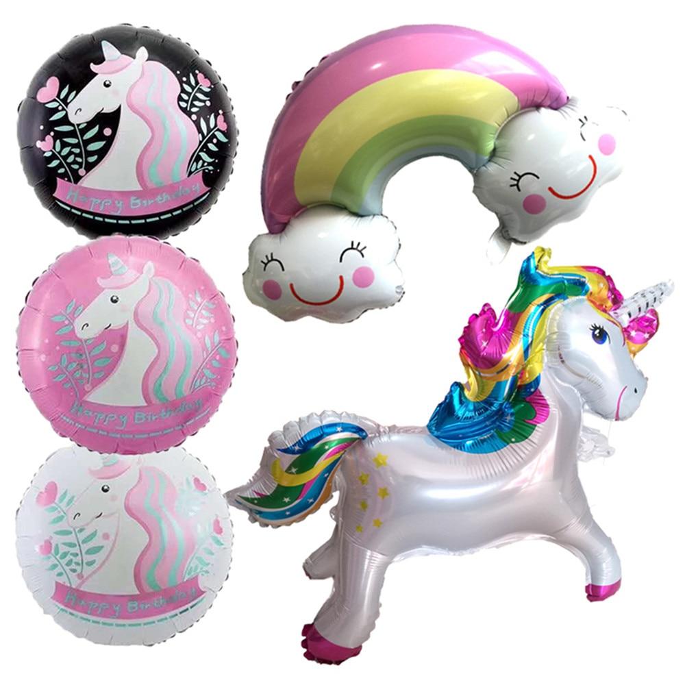 Cartoon Hat  Unicorn Party Decorations Supplies 3D Unicorn  Walking Animal Foil Balloons Girls Birthday Theme Party Decor