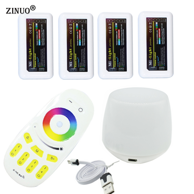 ZINUO Milight Led WiFi Controller + 4PCS 2.4G Led RGBW Controller Box + 1PC 4-Zone RF Remote Control For RGBW Led Strip Light стоимость