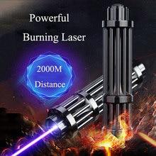 Más poderoso azul linterna de láser 445nm 10000 m enfocable láser punteros linterna quemar encuentro vela cigarrillo