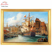 Golden Panno,Needlework,Embroidery,DIY Landscape Painting,Cross stitch,kits,14ct Old Gdanskhome Cross-stitching,Christmas gifts