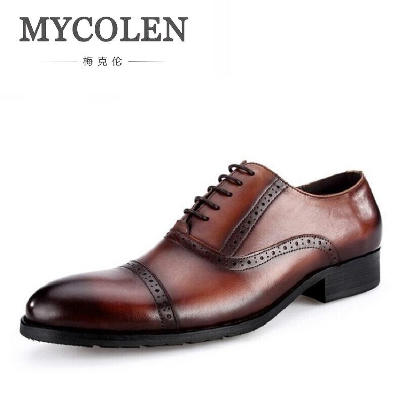 Negro Partido De Cuero brown Vestido Marca A Los Lujo Zapatos Para Mano Oxfords Hombre Negocios Genuino Hecho Zapato Mycolen Hombres Personalizado qA6HHf
