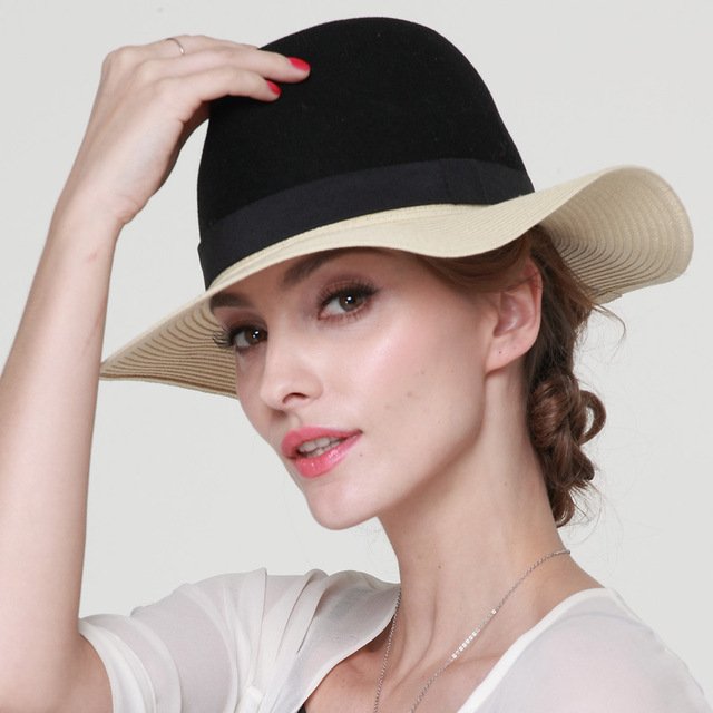 d32167c6a65888 Lady New Straw Hat Women Summer Wide Brim Floppy Beach Hats Fashion Lady  Brown Sun Visor