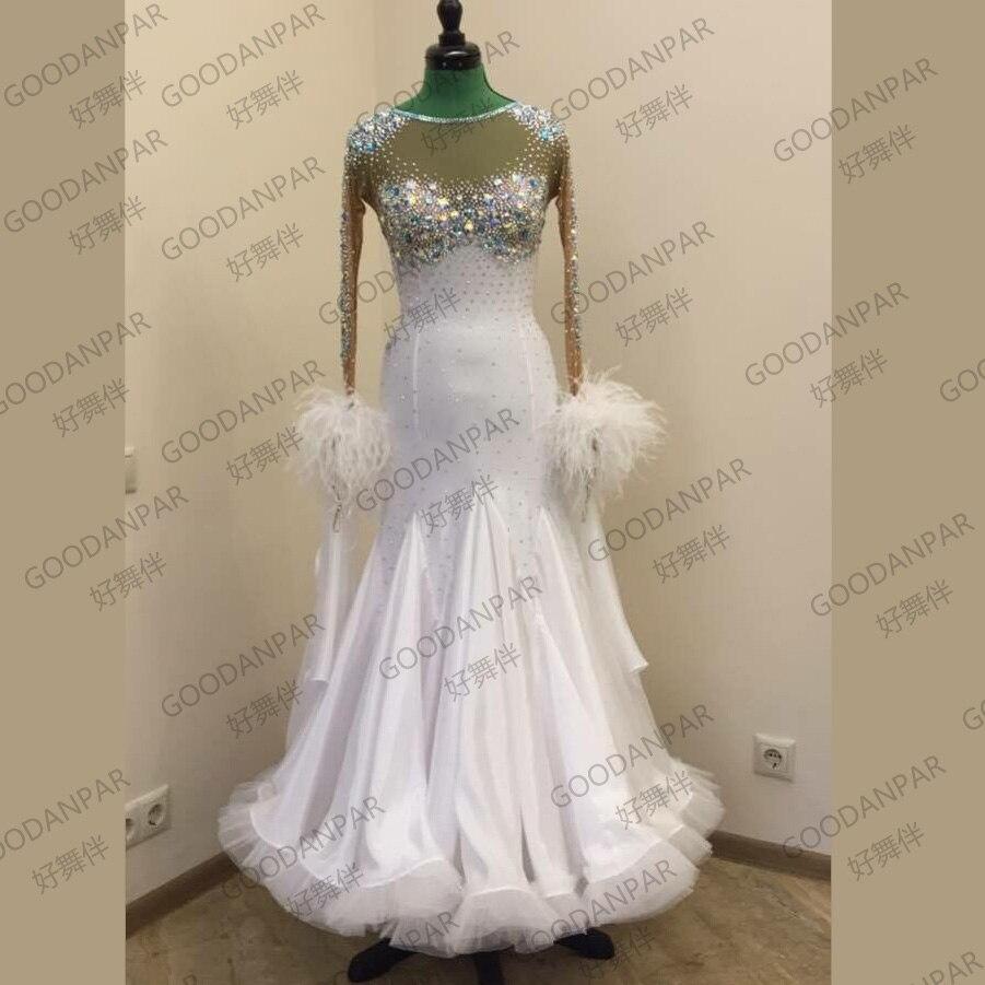 Nouveau! Costumes de robe de danse de salon pour les femmes compétition de danse de salon robes À Manches Longues robe standard blanc vêtements de danse
