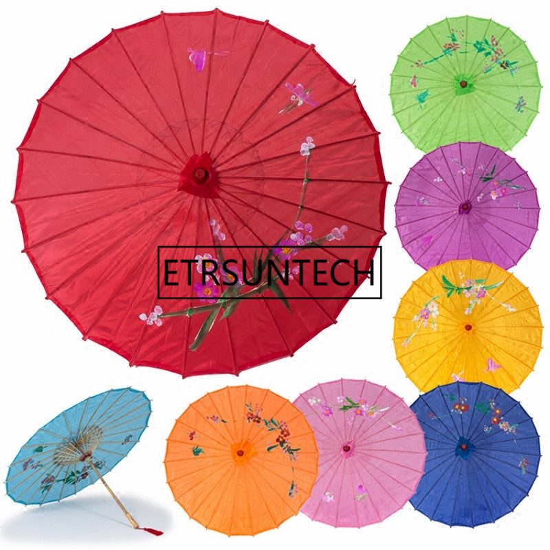 50pcs Colorful Hand painted Wedding Silk Parasol Japanese Chinese Umbrella For Bride Dancing Decoration Umbrella