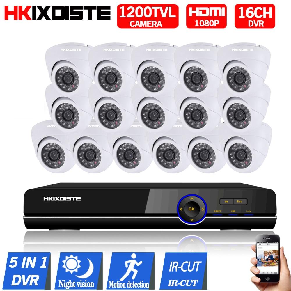 16CH AHD 1080 P DVR 16 PCS CCD 720 P 1200TVL IR Nuit Vision Caméra de Surveillance Extérieurs pour La Maison Caméra Vidéo CCTV Caméra de Sécurité
