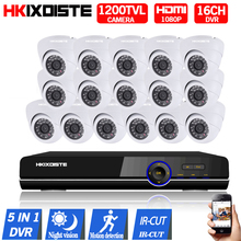 16CH AHD 1080P DVR 16PCS CCD 720P  1200TVL IR Night Vision Surveillance Camera Home Outdoor Video Camera CCTV Security Camera