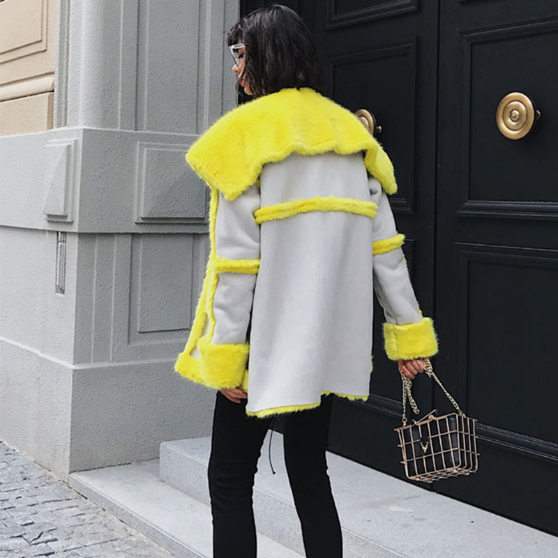 Chaud Manches Jaune Femme Cuir En Suède Pleine Épais Fourrure Nouvelle Patchwork Yellow De Mode Survêtement Manteau 2018 Hiver Faux Femmes Ljls081 w64q11a7