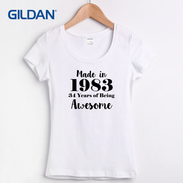 Short Sleeve Tee Shirt For Women Summer 2018 34rd Birthday T Made In 1983 Brown Womens
