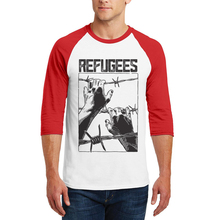 2019 Hot Sales Men T-Shirt New Fashion Boom Design Hand Printed Refugees T Shirt Tops 3/4 Raglan Sleeve Cotton Mens Tee Shirts