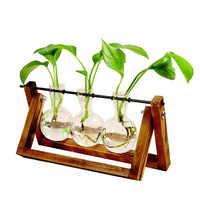 New Hydroponic Plant Vases Vintage Flower Pot Transparent Vase Wooden Frame Glass Tabletop Plants Home Decor Party Gifts