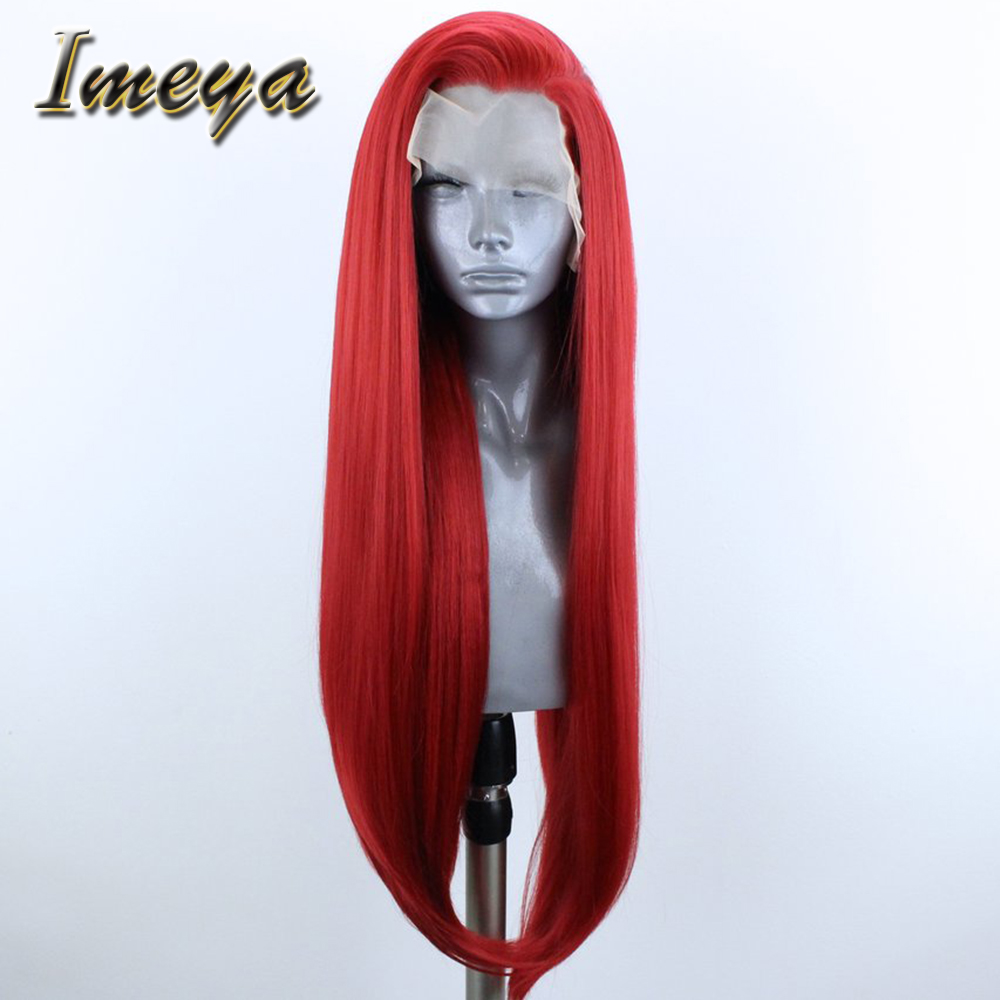 Imeya Lace Front Wig Synthetic Hair Wigs Red Color Long Straight With Side Part Heat Resistant Fiber Wigs For Women