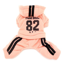 Small Dog Winter Jumpsuit Sports Outfits Fleece Lined Sweatshirt Coat Print Pet Cat Puppy Clothes Boys Girls Leisure Pullover