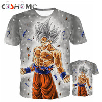 Comhoney Super Saiyan God Goku Blue Hair 3D Print T Shirt 10 Colors Dragon Ball Super