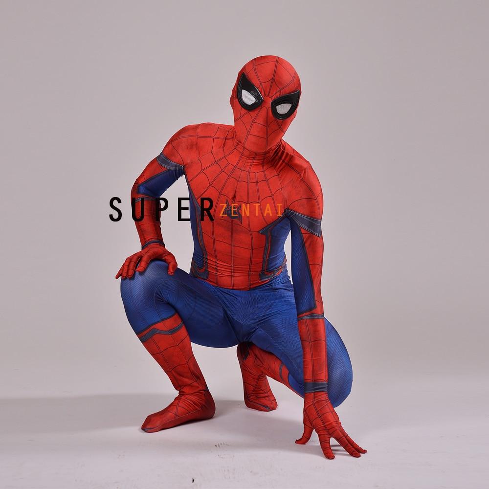 New Civil War Spiderman costume Spandex Zentai Costume Civil War Spider man Costume 3D Shade ...