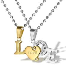 ФОТО stainless steel chain men pendant necklace love letter couple necklace jewelry lovers and couple romantic gift