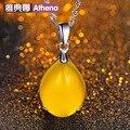 famous brand 925 sterling silver Semi-precious stones yellow yellow chalcedony jewelry Women agate Retro Pattern Drop Pendant