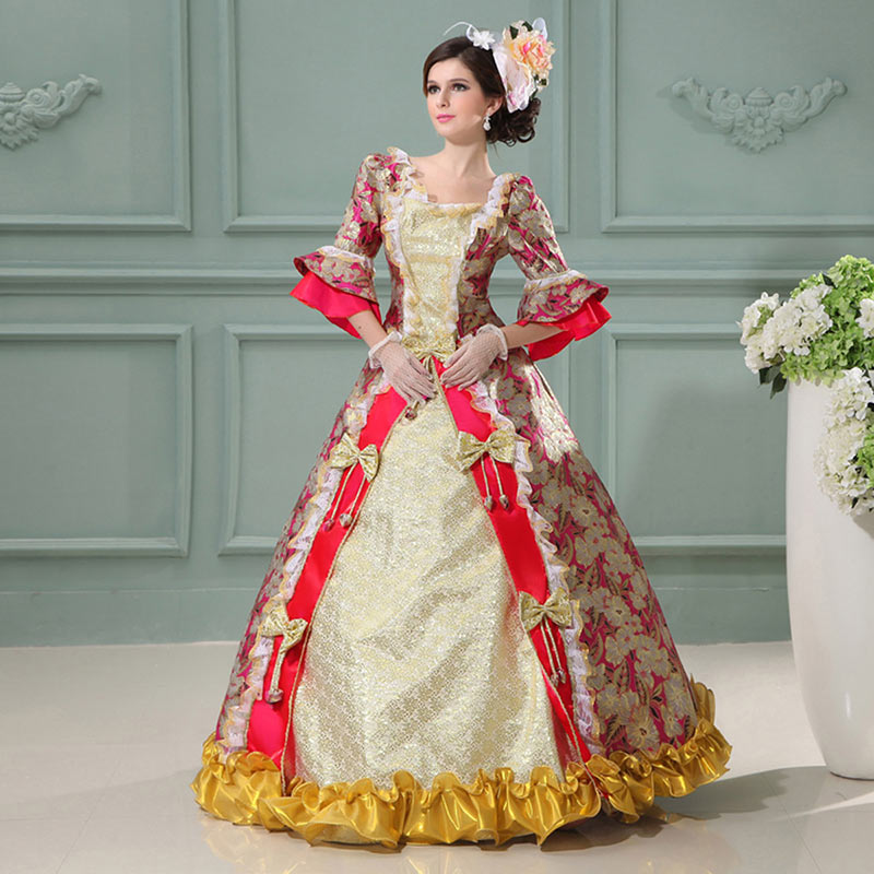 18th siècle victorien imprimé Long col carré rouge/bleu/violet robes Marie Antoinette Costume Vintage cour reine robe