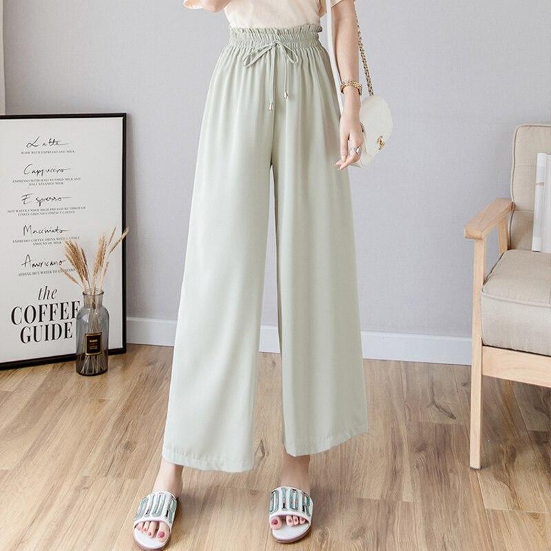 Womem   Wide     Leg     Pants   2019 Summer Autumn Fashion Female Elastic Waist Drooping Style Boho Loose Chiffon   Pant   Casual Trousers