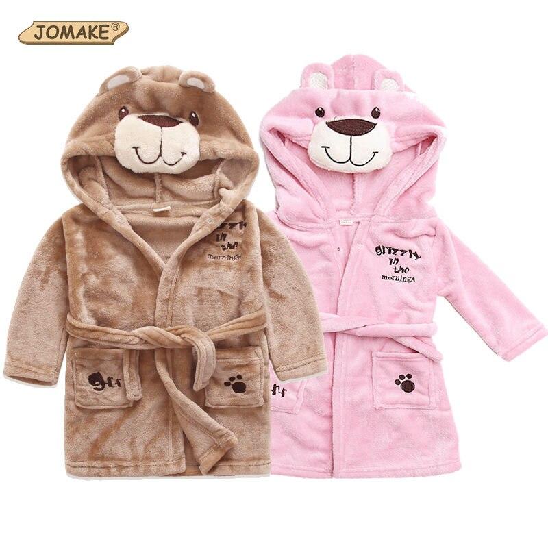 Retail Cute Children's Clothing Kids Sleepwear&Robes Girls/Boys Cartoon Beer Hooded Coral Velvet Bathrobes Baby Soft Homewear