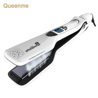 Queenme Steam Hair Straightener Brush Electric Chapinha Titanium Profissional Steam Flat Iron Styling Hair Straightening Comb
