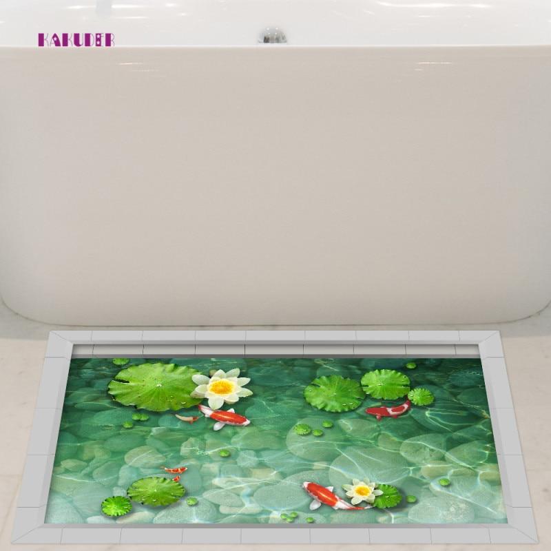 KAKUDER Lotus Flower Pool Floor Sticker Creative Bathroom Bedroom Kids Room Floor Sticker Shower Non-slip Waterproof Decor
