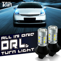 Tcart For toyota Prius 2008 2014 car accessories DRL Daytime Running Light & Turn Signal Light for led car lights