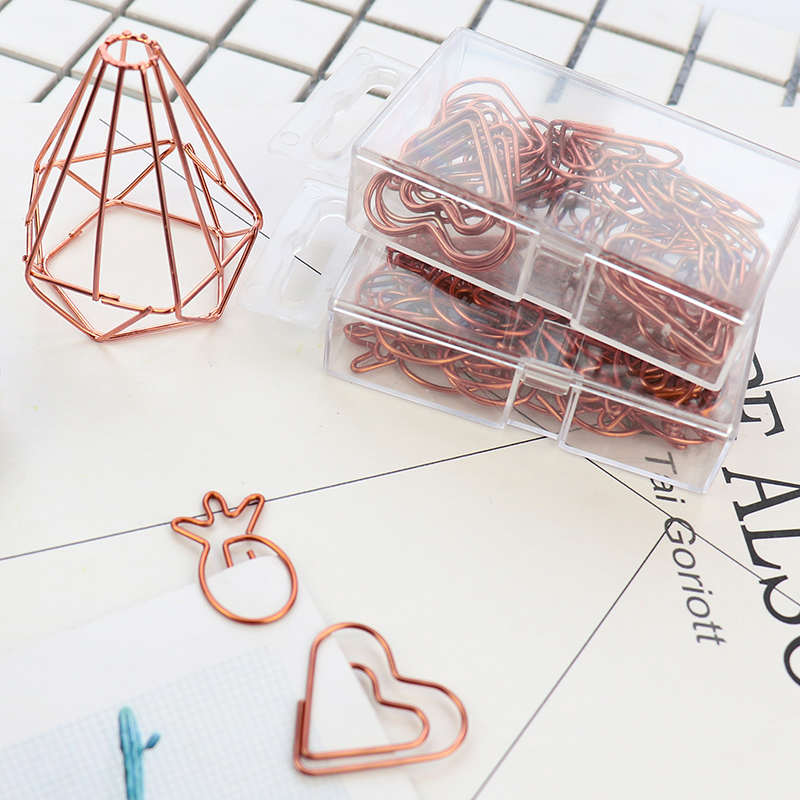 Rose Gold Creative Modeling Paper Clips Large Size Lovely Environmental Protection Pet Metal Clip Pin Office Gold Paper Clips
