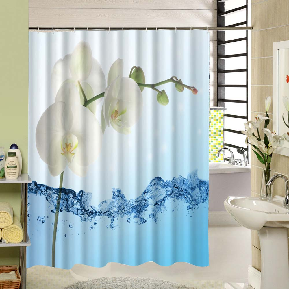 Bathroom Curtains White - White flower 3d print shower curtain with weighted hem bathroom product accessories or bathtub decoration
