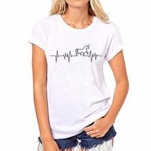 Women s T-shirt Harajuku Rhythm Note Print Unicorn T shirt Women Fashion Tumblr  Summer Short Sleeve Shirt Black White Tops Tee 05c3e9daf9cd
