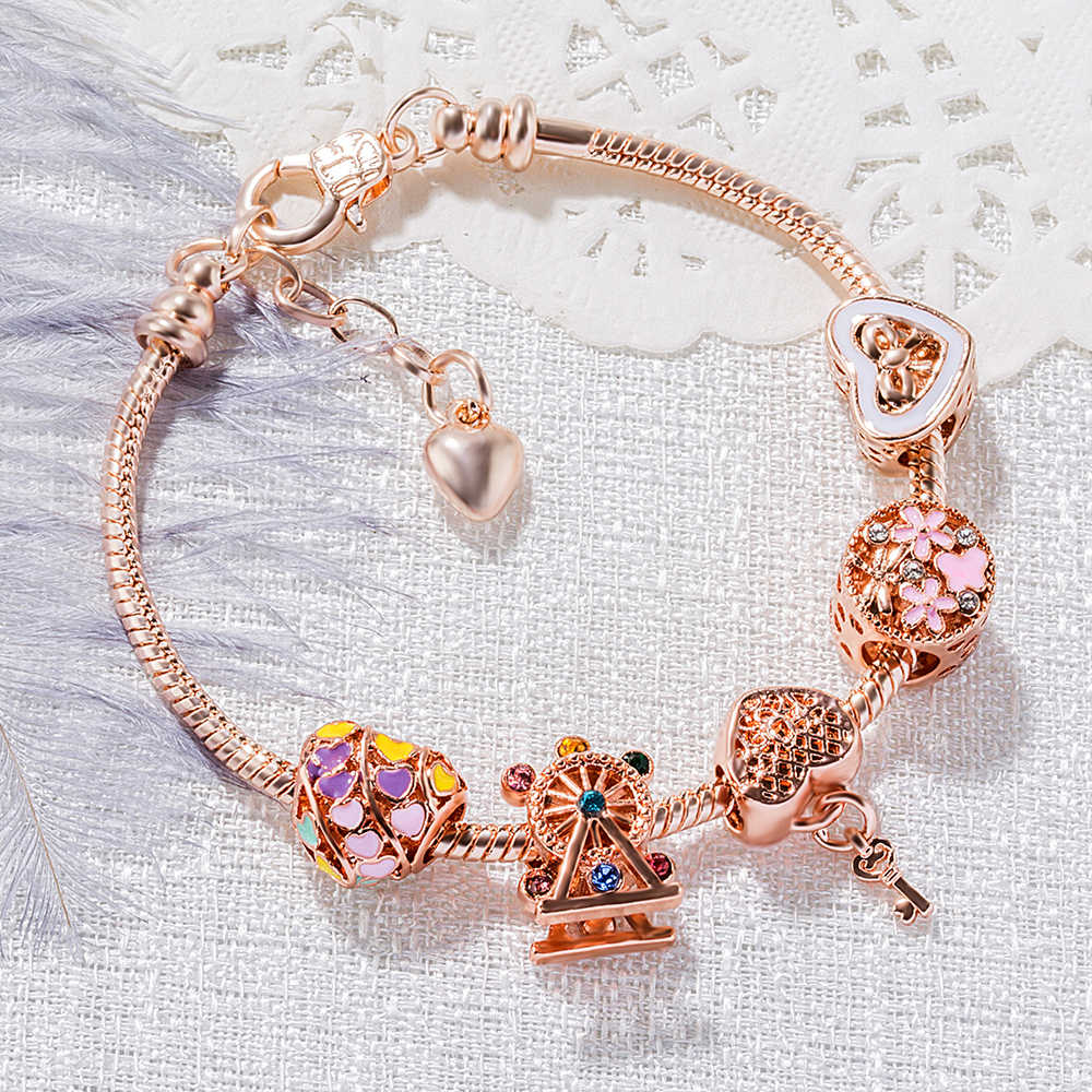 11 Style DIY Bracelets Charms Lucky Beads Women Bangles Rose Gold Snake Chain Bracelet Crystal Peach Robot Key Heart Pink Girls
