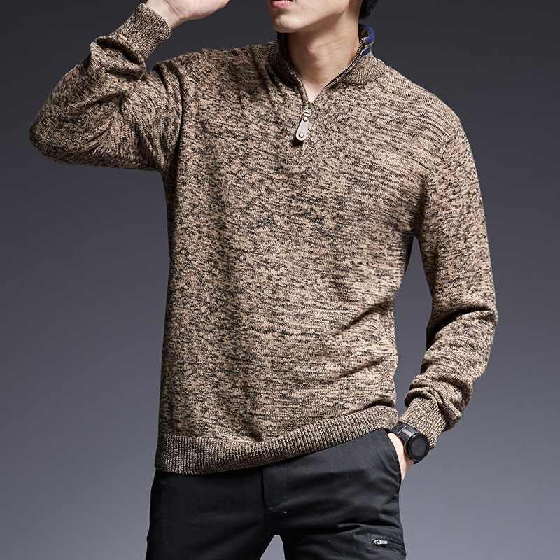 613fa52de 2019 nueva marca de moda hombres suéter suéteres caliente Slim sudaderas  cuello otoño coreano estilo Casual