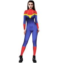 PLstar Cosmos 3D Women Girls Movie Version Captain Marvel Carol Danvers Cosplay apparel Zentai Superhero Bodysuit Suit Jumpsuits