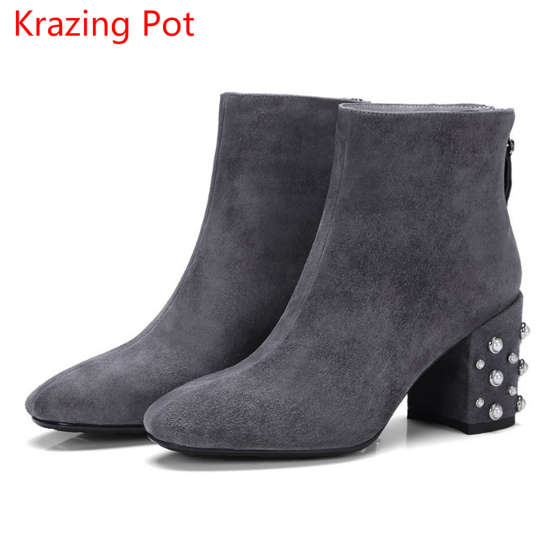 Фотография 2018 New Arrival Vintage Genuine Leather Pearl High Hees Round Toe European Fairy Office Lady Fashion Boots Cozy Ankle Boots L15