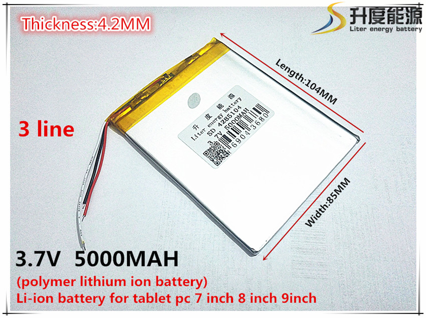 Free Shipping 3.7V 5000mAh 4285104 3 wire Lithium Tablet PC Battery with protection board Polymer battery shun core 2800mah 654476 3 7v lithium polymer battery 654575 tablet pc navigation