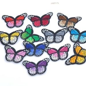 Image 3 - Mezcla de parches de planchado para ropa, parche bordado con apliques de mariposa Multicolor, pegatinas de insignia para ropa MZ421