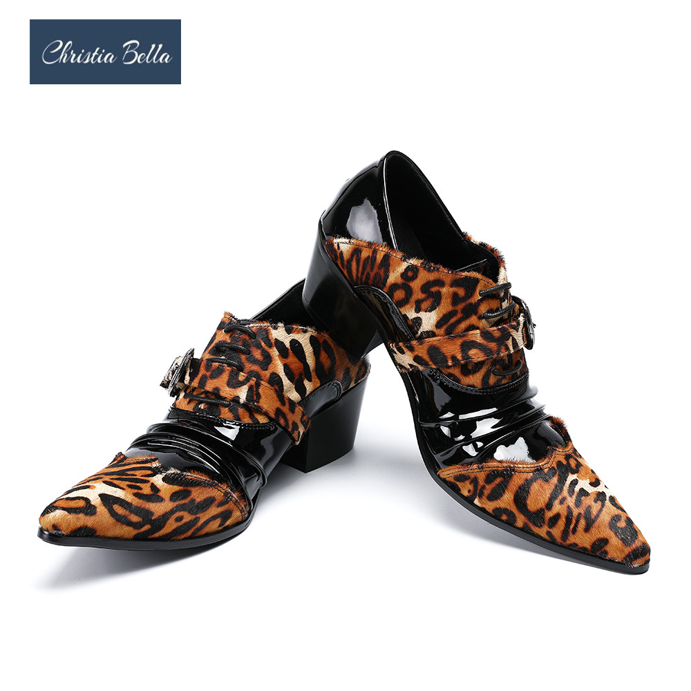 Christia Bella Leopard Print Shoes Elevator Business Shoes Men Casual Leather Oxfords Mens Brogues Pointed Toe Oxford Men