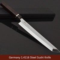 Sushi Sashimi messer Koch cutter Japanische Küchenmesser Lachs fisch filet petty messer Deutschland stahl Ebenholz griff freies schiff 7,01