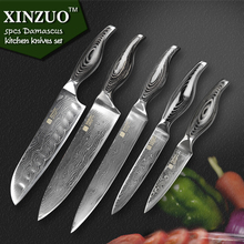 XINZUO High quality 5 pcs kitchen knife  VG10 Damascus kitchen knife set chef knife japaness knife wood handle free shipping
