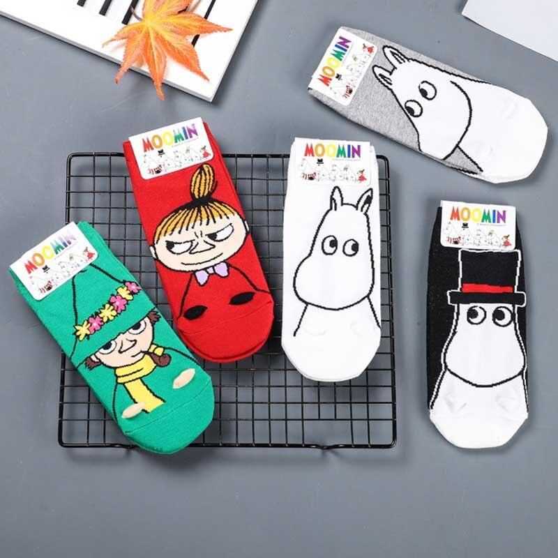 2019 New Moomin Valley Cartoon Cute Cosplay Ukraine Socks Fashion Classic Funny Green Red Black White Short Cut Socks 1pair
