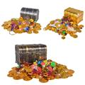 Treasure Hunting Box Children Treasure Box Electroplated Retro Plastic Box Toy Gold Coins and Pirate Gems Jewelry Playset Pack